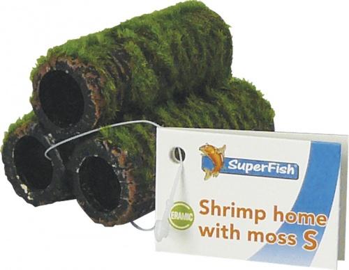 SF Garnalen huis met mos S   Welkom bij aquarium planten com   sf deco met (kunst) mos